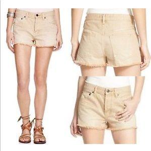NEW Free People Uptown Tan Denim Cut Off Shorts